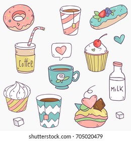 Cute vector collection set with tasty elements for coffee drink, tea, cupcakes, sweets and so on
