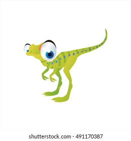 cute vector comic cartoon animal. Cool colorful dinosaur Compsognatus