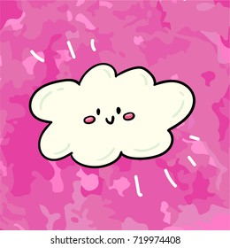 Cute vector comic style cartoon hand drawn illustration of doodle smiling happy cloud. Print design template, children design element on grunge pink texture background