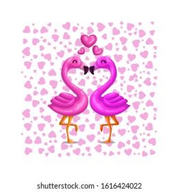 Cute Vector Couple Flamingo Falling in Love