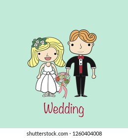 cute vector couple.Wife holding flower with text Wedding