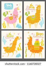 Cute vector design with cartoon lama and cacti. Good as a poster or a motivational funny card.