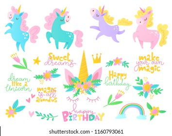 Cute vector designs with unicors and lettering. Children room decorations.