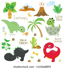 Cute vector dinosaurs isolated on white background. Dinosaur footprint, Volcano, Palm tree, Stones, Bone and Cactus.