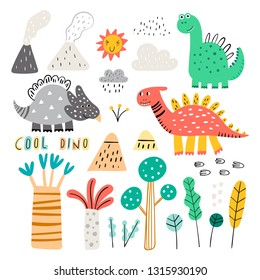 Cute vector dinosaurs isolated on white background. Dinosaur footprint, volcano, palm tree and clouds. Hand drawn vector cute set for kids. Vector.