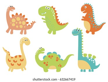 Cute vector dinosaurs isolated on white background.