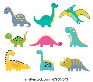 Image of: Rawr Cute Vector Dinosaurs Isolated On White Background Shutterstock Dinosaur Cartoon Images Stock Photos Vectors Shutterstock