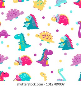 Cute vector dinosaurs. Seamless pattern
