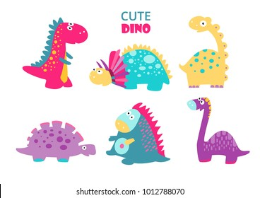 Cute vector dinosaurs. Set