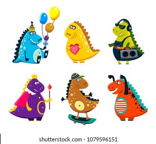 Cute vector dinosaurs. Set cartoon