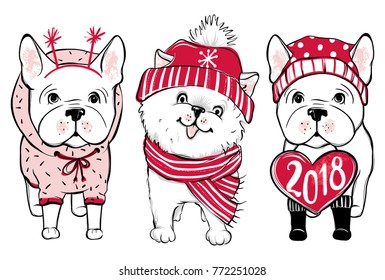 Cute vector dogs in winter clothes. Fashion French bulldog and Pomeranian Spitz puppy. Stylish animals. Happy New Year 2018.
