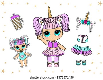 Cute vector doll in unicorn costume and colorful hair. Little golden horn on headband. Bottle of water. Summer kid illustration. Girlish faritable clothes for birthday lol party, halloween