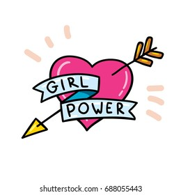 Cute vector doodle sketch style girl power feminism heart illustration isolated on white background
