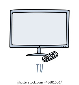 Cute vector doodle sketch TV set with remote control in blue tones, isolated on white