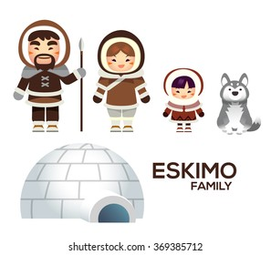 Cute Vector Eskimo Family with Igloo House and Dog isolated on White Background