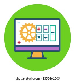 cute vector flat round monitor icon with buttons plus minus calculator, gear, accounting automation symbol, optimization, revenue increase, Accounting Software Development