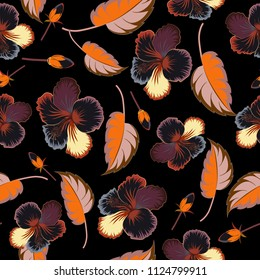Cute vector floral background. Hibiscus flowers seamless pattern in brown, gray and black colors.