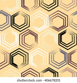 Cute vector geometric seamless pattern. Brush strokes, hexagon. Hand drawn grunge texture. Abstract forms. Endless texture can be used for printing onto fabric or paper.