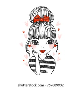 Cute vector girl with hearts. Hand drawn valentine's day design.