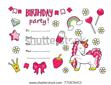 cute vector girls birthday party invitation stock vector royalty