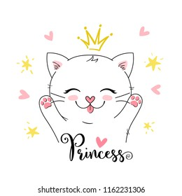 cute vector girly princess kitten. can be used for greeting card, kids t shirt design, print or poster