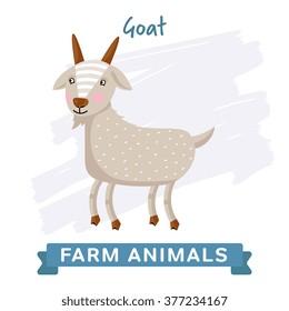 Cute vector goat. Farm animal illustration. Kawai mammal creature character. Farmland inhabitant. Small artiodactyl cattle barnyard denizen. Funny cartoon billy goat icon isolated on white background