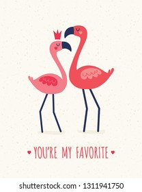 Cute vector greeting card template in coral and blush pink with flamingos, crown and geometric love hearts. Text reads You're My Favorite. For Valentines Day, Wedding, Engagement, poster, invitation.