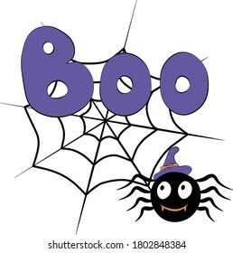 Cute vector Halloween illustration. Cartoon Purple Boo type, spiderweb and black spider. Easy for stickers, invitation, icons, print, sublimation for gift, web design. Isolated on white background.