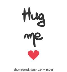 cute vector hand drawn lettering hug me card