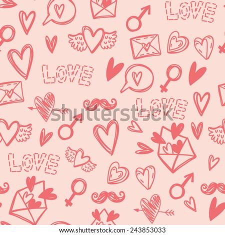 Cute Vector Handdrawn Pattern Symbols Love Stock Vector Royalty