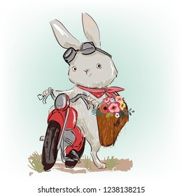 cute vector hare on motobike with floral gift