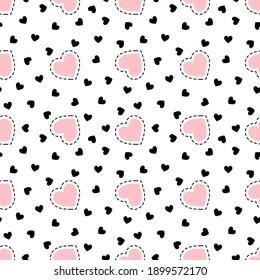 Cute vector hearts seamless pattern, lovely romantic background, great for Valentine's Day, Mother's Day, textiles, wallpaper, banners - vector design
