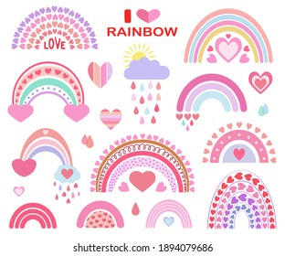 Cute vector heavenly set: rainbows, clouds, sun, rain, drops. For children's textiles, decor, postcards, albums, posters. Drawn in a flat style. Hearts, love, Valentine's Day, romance.