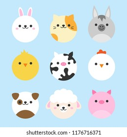 Cute vector icon set of domestic animals. Round animal illustrations; bunny, cat, donkey, chicken, cow, hen, dog, sheep and pig. Isolated on baby blue background.