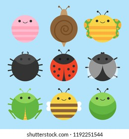 Cute vector icon set of insect, meadow animals. Round animals illustrations; earthworm, snail, butterfly, spider, ladybird, fly, grasshopper, bee and caterpillar. Isolated on baby blue background.