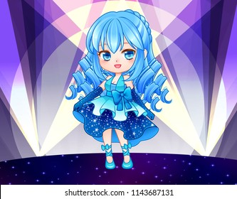 Cute vector illustration.Beautiful chibi zodiac girl.Kawaii Anime manga teenager. Big eyes.  Use for postcards, print on clothes or other things. Banner decorations.