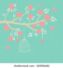Cute vector illustration in blue tones. Branch with pink roses, butterfly, cage, heart. Can be used for celebration postcard, wedding invitation, etc.