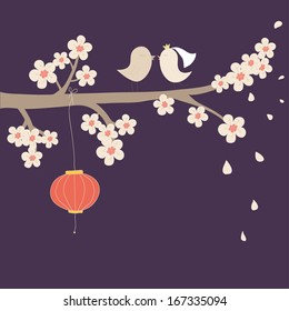 Cute vector illustration. Branch with white flowers,  birds in love and chinese lantern. Can be used for celebration postcard, wedding invitation, scrapbooking.