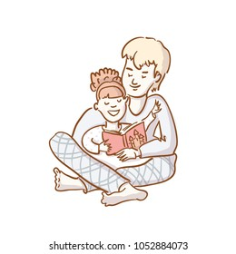 Cute vector illustration of brother and sister in pyjamas reading book together isolated on white. Happy family figure. vector illustration flat design