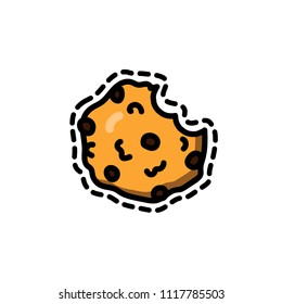 Cute vector illustration of a cookie with chocolate chips in doodle cartoon style. Chocolate chip cookie on white background.