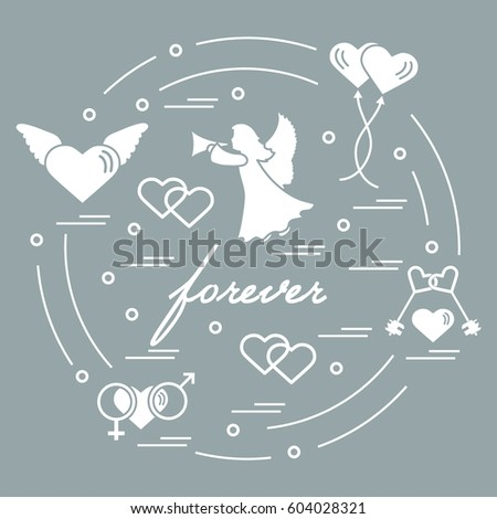 Cute Vector Illustration Different Love Symbols Stock Vector