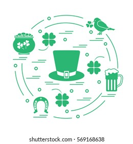 Cute vector illustration with different symbols for St. Patrick's Day arranged in a circle. Design for banner, poster or print.