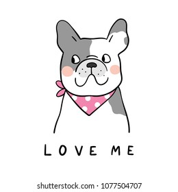 Cute vector illustration draw character design of cute dog and word love beauty blue sweater.Doodle cartoon style.