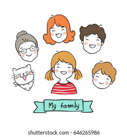 Cute vector illustration draw character design of cute happy family.Doodle style.