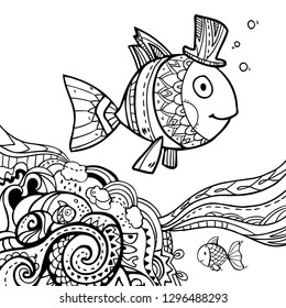 Cute vector illustration with drawing boy fish on  abstract decorative pattern elements on white background for coloring art