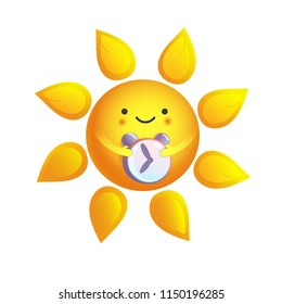 Cute vector illustration of Early morning, sun holding alarm clock, time to get up.