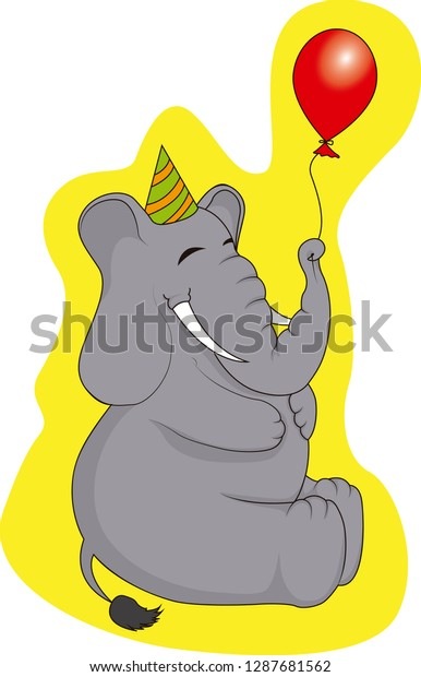 Cute vector illustration of an elephant with a party hat and a balloon on a yellow background
