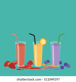 Cute vector illustration of fresh fruit juices glasses arranged on the blue background. Strawberry, orange and blueberry organic juice with big copy space on top.