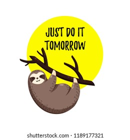 Cute vector illustration. Funny cartoon sloth hanging on a branch