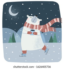 Cute vector illustration of a funny northern polar bear with a scarf on skates and with coffee in the winter at the north pole. Children's drawing for New Year and Christmas card or background.
